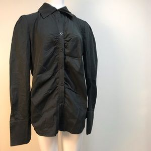 Allegra K black button down tuxedo shirt